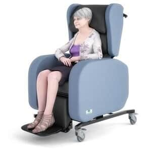 front view illustration of a seating patient with parkinson's disease on a sorrento chair\
