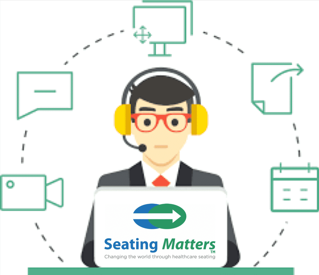 colored illustration of a remote support seating matters staff